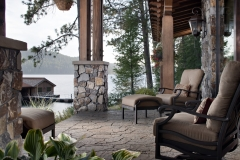Outdoor living space located in Coeur d'alene, Idaho designed by Gibson Landscaping, includes multiple Patios, Firepit and Driveway. The project utilized the following Belgard products manufactured by Sierra Building Materials of Stockton, CA  Mega Arbel - Coeur d'alene Blend (custom color)